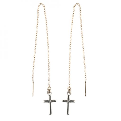 silver threader cross earrings