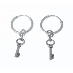 silver keys hoops
